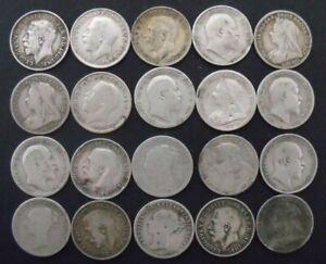 PRE 1920 SILVER THREEPENCES x 20. British Silver Coins.    lot 1