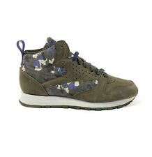 Reebok CL Leather Mid DC Classic Green Purple Camouflage Size 10 Shoes BS5173