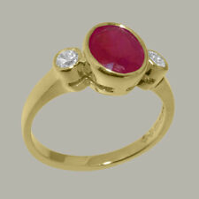 Solid 9ct Yellow Gold Natural Ruby & Diamond Womens Trilogy Ring - Sizes J to Z