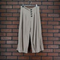 URBAN ROMANTICS Striped Wide Leg Cropped Pants Button Fly Linen Blend Size M