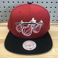 Miami Heat NBA Basketball Mitchell & Ness SnapBack Cap EUC Hat Triple Logo