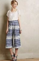 Anthropologie Corey Lynn Calter Blue Linen Wide Cropped Nalu Pants 4 Small