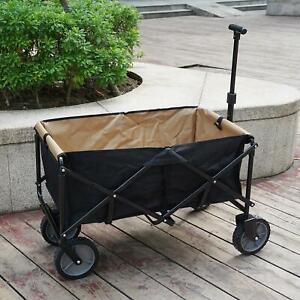 Black Pull-Along Folding Hand Cart Garden Wagon Festival Camping Beach Trolley