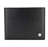 [Mont blanc] 38036 Men's Leather Half Wallet 6cc Black Saffiano