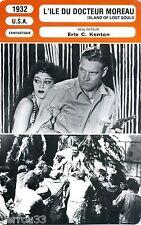 Fiche Cinéma Movie Card. L'île du docteur Moreau/Island of lost souls (USA) 1932