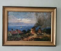 Vintage, Old Oil Painting. Seaview From over Houses / Roof Top . Framed. Signed
