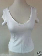 $150 Isabelle Elie White Feminine V-Neck T-Shirt Size Medium