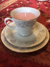 Teacup candle trio, pink & blue flowers, floral scent pink wax, birthday