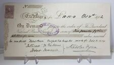 1902 Draft/Cheque Tattersall The Queensland National Bank for the Caulfield Cup