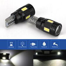 2 For Canbus T10 LED Light 5730 6SMD Error Free White 12V Bulbs W5W 168 501 Lens