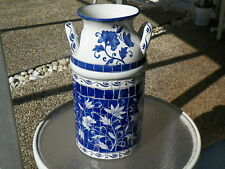 "18.5"" CERAMIC MOSAIC MILK CAN BLUE & WHITE UMBRELLA STAND & VASE"