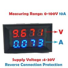 2 Wires 100V 10A Blue + Red Digital LED Panel Voltmeter Ammeter Volt Amp Meter