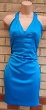JANE NORMAN TURQUOISE BLUE SATIN FEEL HALTERNECK BODYCON PARTY TUBE DRESS 8 S