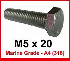 M5 x 20 MARINE Grade Stainless Steel Bolts 5mm x 20mm Hex Head x20 (A4/316)