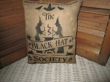 Primitive Stenciled Pillow - Black Hat Society - halloween