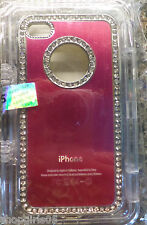 NEW! Dark Pink Bling  Rhinestone Aluminium Case Cover For iPhone 4 4S 4G