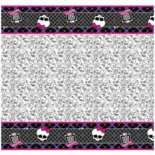 """96"""" x 54"""" Monster High Party Birthday Pink Black Paper Table Cover"""
