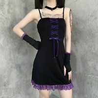 Womens Gothic Punk Spaghetti Strap Dress Lace-Up Bodycon Mini Dress with Gloves