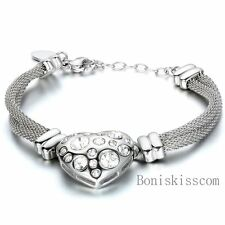 Stainless Steel Mesh Chain Strap Womens Ladies Bracelet w Heart Charm Ends