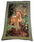 """A.T.C. New York Horse picture Wall Tapestry Horse Unicorn Brown wild 54"""" x 35"""""""
