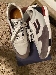 "$395 Mens Authentic Bally ""Gavino"" Retro Running Sneakers Grey/blue US 10"