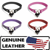 Mary Genuine Leather Choker Collar Day Collar Gothic BDSM Punk for Women Men