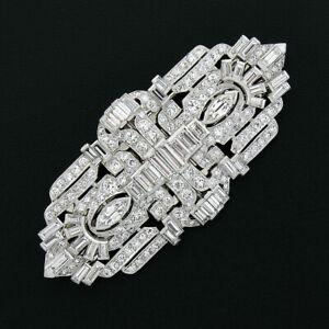 Antique Art Deco Platinum 8.35ctw Old Cut Diamond Dual Dress Clip Brooch Pendant