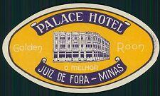 PALACE Hotel luggage label JUIZ DE FORA MINAS Brazil Brasil Vintage