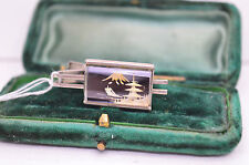 Vintage Silver tie clip with damascene design #T220