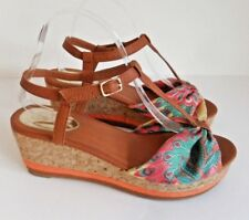 "❤ JOE BROWNS Size 7 Lovely Multi Orange 3.25"" Wedge Heel Sandal Brown Straps VGC"