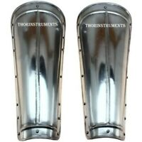Medieval Steel Armor Greaves Leg Guards Costume Chorme Finish