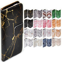 For Apple iPhone Series Case - Marble Texture Print Wallet Phone Case Cover #1