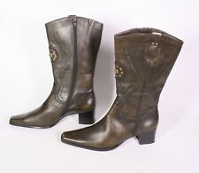 #14s Tamaris Bottines Booties Cuir Olive taille 41 Pointu Western-Look Rivets