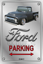 Parking Sign - Metal - Ford F100 - 1955 - 1956 - ORIGINAL - BLACK TRUCK