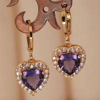 18K Gold Filled Earrings Women Amethyst Heart-shaped elegant Zircon Party Gift