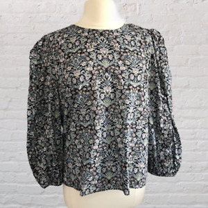 J Crew Liberty Womens Cotton Shirt Size Large Blue Floral Print