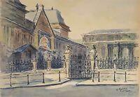 PARIS PAYSAGE. AQUARELLE SUR PAPIER. A. GUERIN. XXE SIÈCLE.