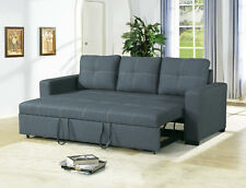 Modern Living Room Guest Convertible 3 Seater Sofa Pull Out Bed Blue Grey Fabric