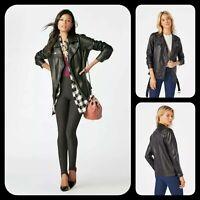 New Black Faux Leather Womens Oversizeed Long Moto Biker Style Jacket S