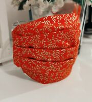 Handmade, 100 % Cotton fabric facemask, Washable, Reuseable, Red & Gold