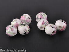 10pcs10mm Round Porcelain Ceramic Loose Spacer Beads Big Hole Charms Pink Peony