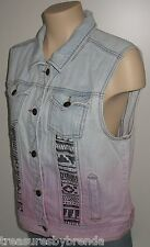 Forever 21 Women's Jean Vest Denim Premium Distressed Ombre Pink Dyed Large
