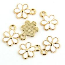 10pcs Gold Flower Beads Charms Enamel Pendant Fit DIY Bracelet Jewelry Findings