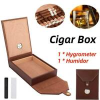 Travel Cigar Humidor Humidifier Leather Cedar Wooden Cigar Case Box