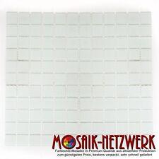 Mosaik weiss matt Glas Bad WC Küche Dusche Fliesenspiegel Art: 60-0111   1qm