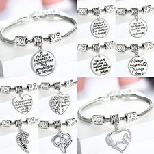 Family Bangle Bracelet Love Words Charm Beads Women Jewelry Gifts Party Fashion