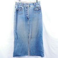 "Size 14 Denim Skirt Womens Blue Jean Skirt Button Fly Palmiye 14"" Slits"