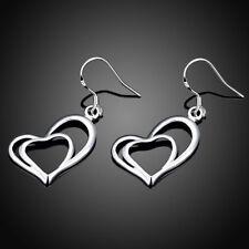 Gorgeous 925 Sterling Silver Double Heart Dangle Drop Earrings Girl Jewelry Gift