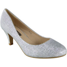 Womens Glitter Mid Heels Court Shoes Party Bridesmaid Wedding Bride Ladies Size