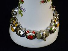 Charm Bracelet, Enameled Animal Theme ~ Classic TOFA Silver Tone Slider #5430905